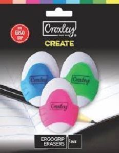 Picture of Croxley 3-pack ErgoGrip Erasers