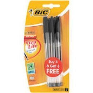 Picture of Bic Cristal Ballpoint Pen Set 4+3 Medium Black